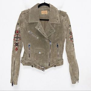 Driftwood Olive Embroidered Suede Moto Jacket